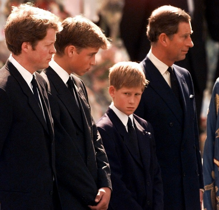 Image: Earl Spencer, Prince William, Prince Harry and Prince Charles