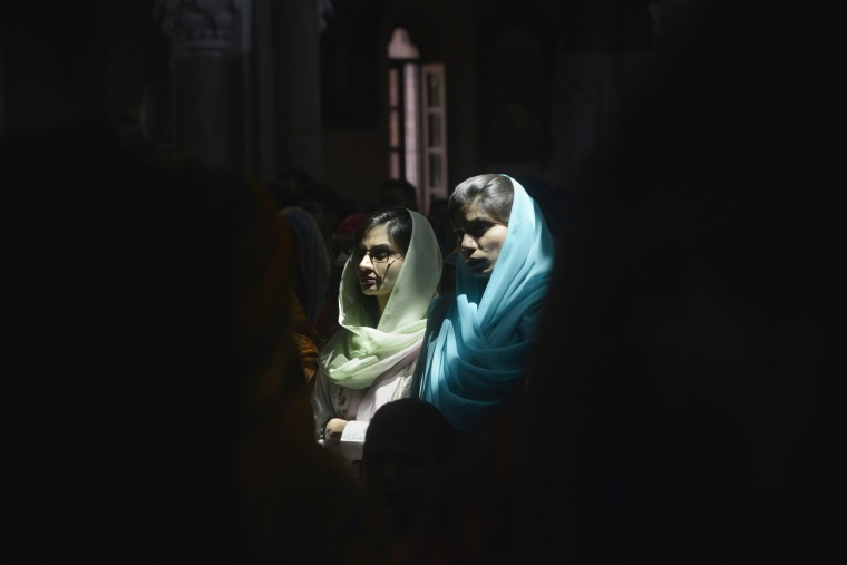 Image: Pakistani Christians attend the Easter Sunday service at the Sacred Heart Cathedral Church in Lahore
