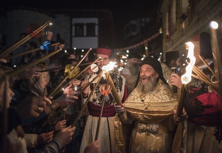Image: Orthodox Easter celebrations at monastery of St. John near Mavrovo
