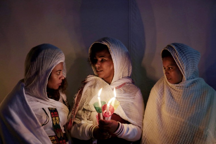 Image: Christian Ethiopians living in Greece attend the Resurrection Mass, at the Ethiopian Coptic church, in Athens