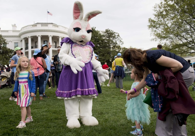 Image: The Easter Bunny greets visitors at the White House Easter Egg Roll