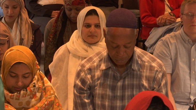 People gather for prayer at Qal'bu Maryam Women's Mosque in Berkeley, California.
