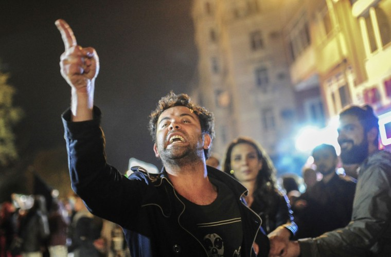 Image: Protesters take to the streets in Istanbul.