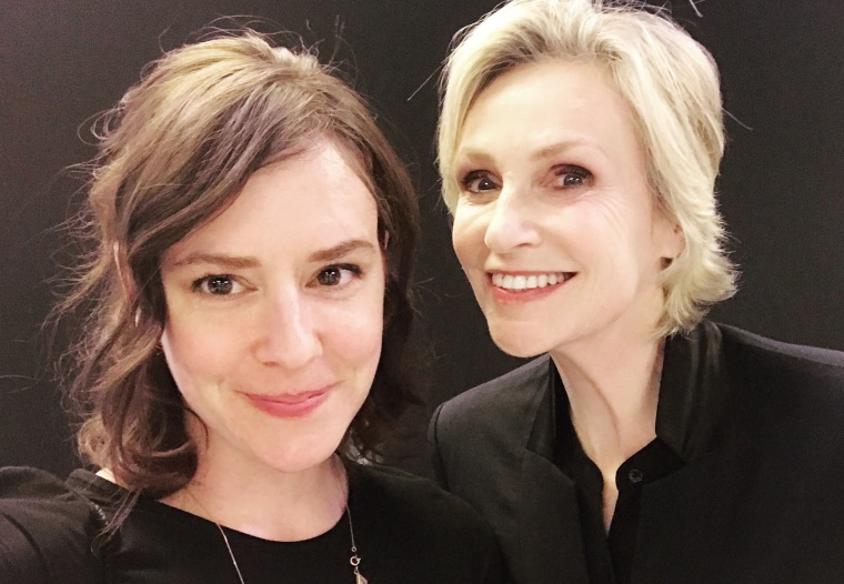 NBC Out's Mary Emily O'Hara (left) and actress Jane Lynch pose for a selfie