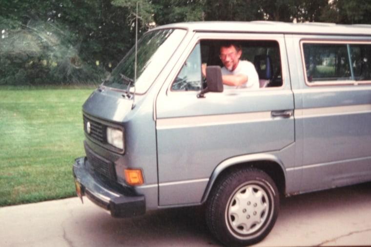 Mikah Meyer's father in his van.