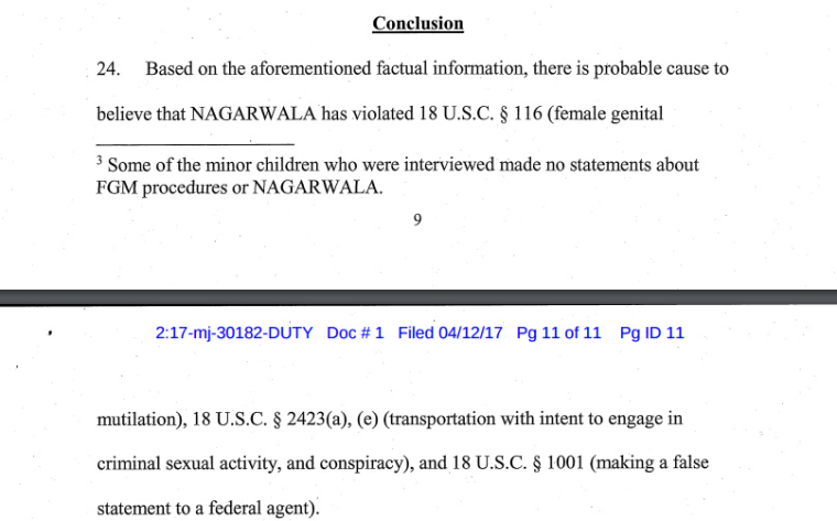 An excerpt of court documents detailing the charges against Jumana Nagarwala.