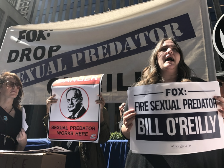 Protesters call for Fox News to fire host Bill O'Reilly at the network's NYC headquarters