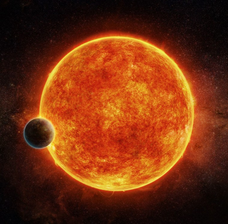 An artist's impression of the star LHS 1140 and its super-Earth planet, LHS 1140b. The planet may be a prime target for habitability studies.