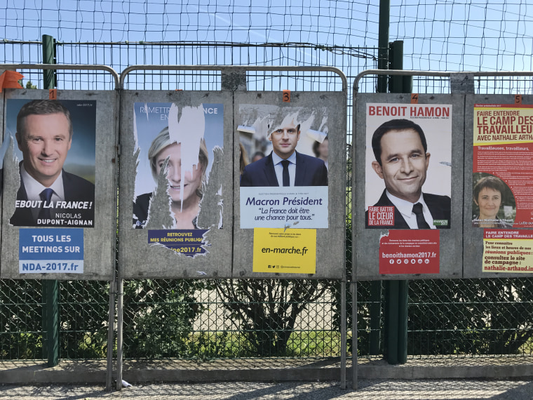 Image: Posters of presidential candidates on display in Cogolin