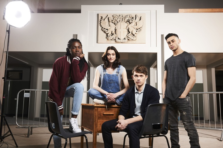 "Tanya Adeola (Vivian Oparah), April MacLean (Sophie Hopkins), Charlie Smith (Greg Austin) and Ram Singh (Fady Elsayed) in BBC America's ""Class."""