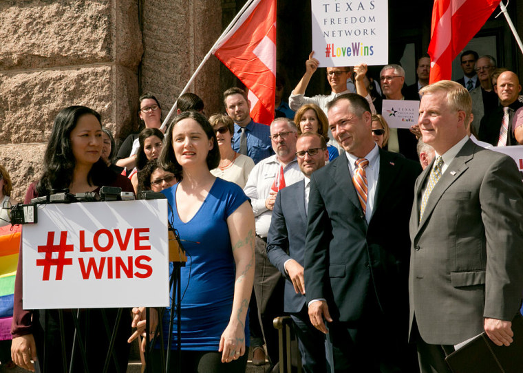 (L-R) Texas marriage plaintiffs Cleo DeLeon, Nicole Dimetman, Vic Holmes and Mark Phariss during a Human Rights Campaign press conference at Texas Capitol on June 29, 2015.