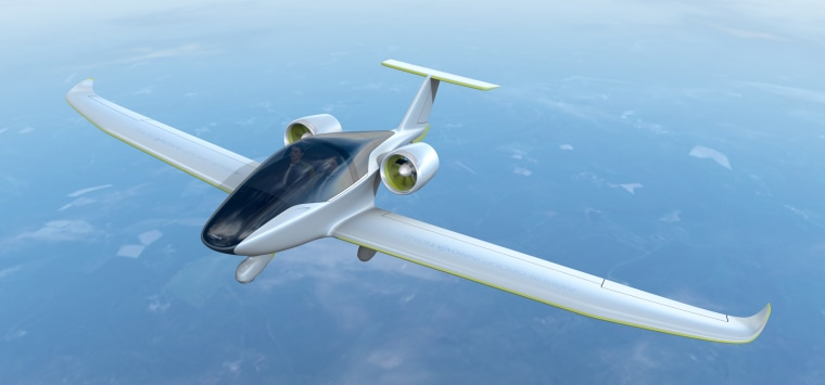 Artist conception of the two-seater version E-Fan 2.0, which will be a fully electric training aircraft powered only by batteries.