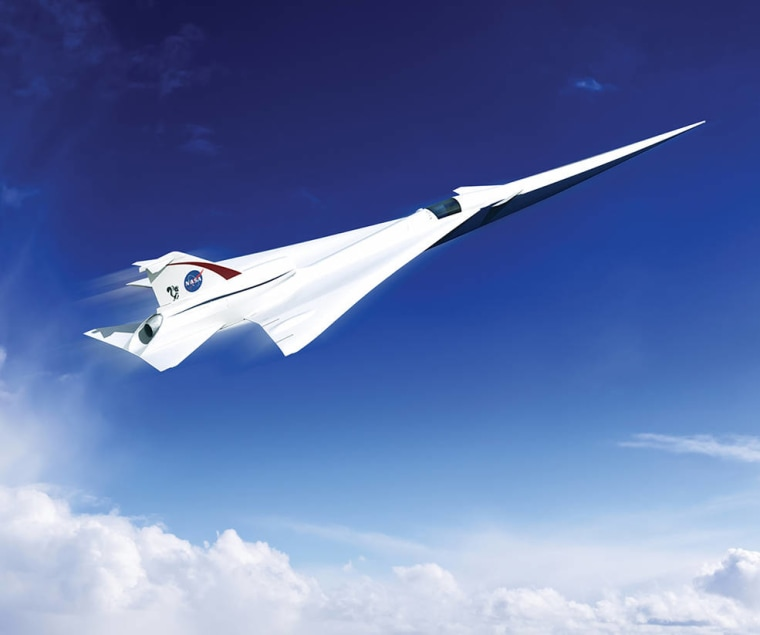 An artist's concept of a possible Low Boom Flight Demonstration Quiet Supersonic Transport (QueSST) X-plane design. The award of a preliminary design contract is the first step towards the possible return of supersonic passenger travel - but this time quieter and more affordable.