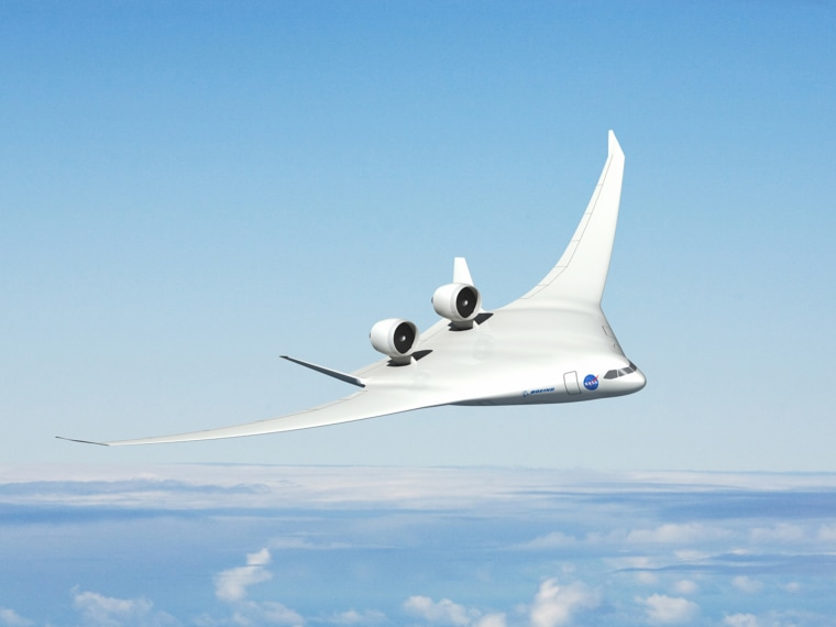 Boeing's advanced vehicle concept centers around the familiar blended wing body design with Pratt & Whitney geared turbofan engines on the top of the plane's back end, flanked by two vertical tails to shield people on the ground from engine noise.