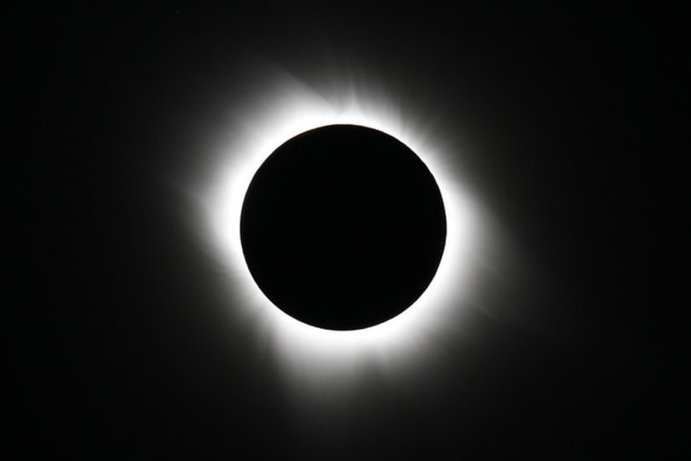 April 20, 21 and 22 will offer perfect dress rehearsals for the Aug. 21, 2017, total solar eclipse because the sun will be in a nearly identical position on those days. This image shows the total solar eclipse on July 11, 2010, as captured by photographers Imelda Joson and Edwin Aguirre from the Tatakoto Atoll in French Polynesia's Tuamotu archipelago.