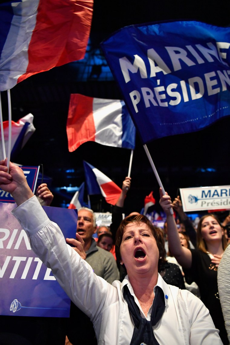 Image: Marine Le Pen supporters cheer