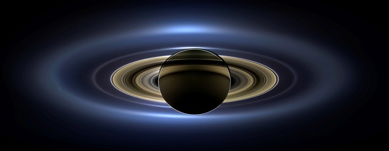 Image: Handout image of Saturn from space, the first in which Saturn, its moons and rings, and Earth, Venus and Mars are all visible