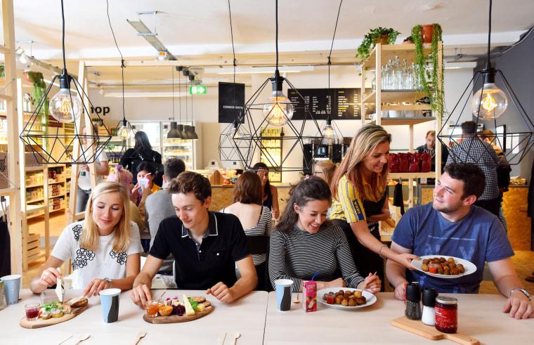 Image: Customers inside the new IKEA Cafe, London.
