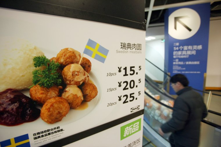 Image: Ikea's Swedish meatballs on a sign in the Ikea Cafe.