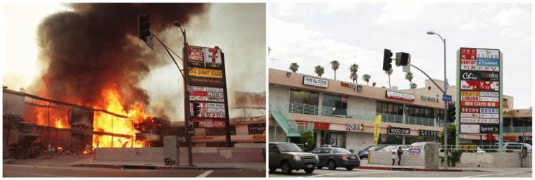 A combination picture shows a corner shopping center that was burned down during the riots May 1, 1992 (left), and after it was fully rebuilt, April 25, 2012.