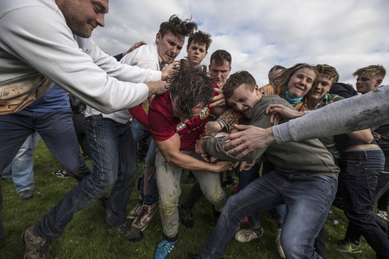 Image: The Ancient Custom Of The Hare Pie Scramble And Bottle Kicking Takes Place In Hallaton