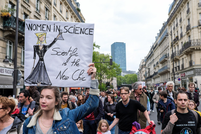 Image: Protesters hold banners during the March for Science in Paris, France, where scientists, science enthusiasts, and concerned citizens come together to make themselves heard.