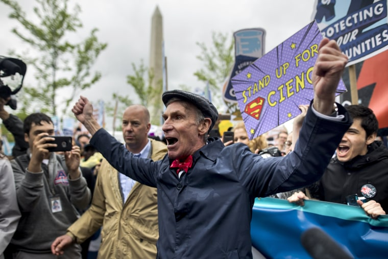 Image: Science educator Bill Nye, popularly known as 'Bill Nye the Science Guy', announces the start of the March for Science, which saw tens of thousand of protesters walking along Constitution Avenue, in Washington, DC.