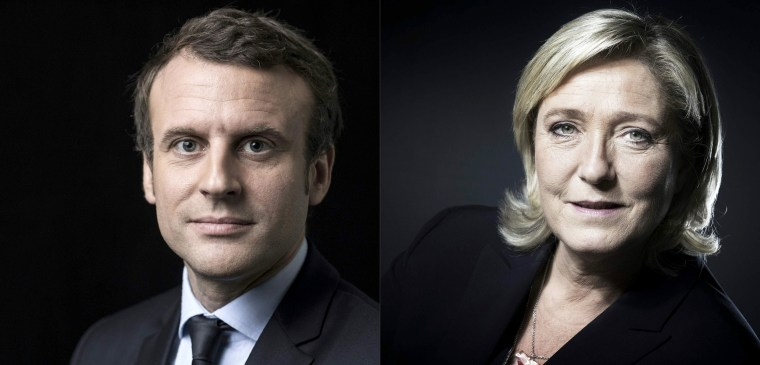 Image: A combination of pictures shows French presidential election candidate for the En Marche! movement Emmanuel Macron (L) and French presidential election candidate for the far-right Front National (FN) party Marine Le Pen (R) posing in Paris.