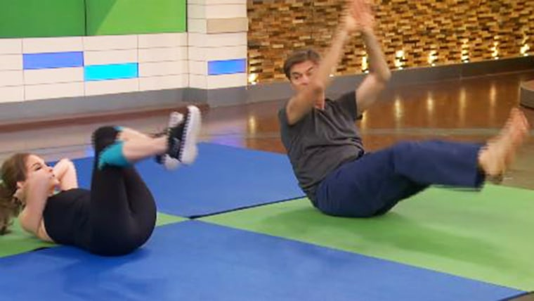 Joy Bauer joined Dr. Mehmet Oz for a quick yoga sequence