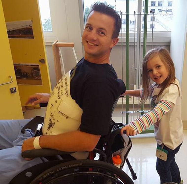 Paralyzed man walks again.