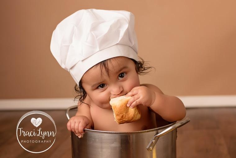 Baby fried chicken photo shoot