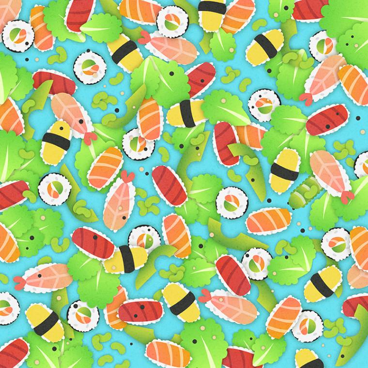 Spot the caterpillar in the sushi