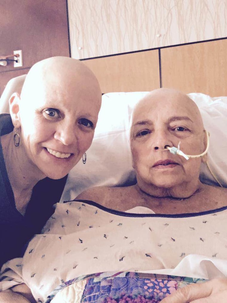 Kelly Epps poses with her mom in the hospital.