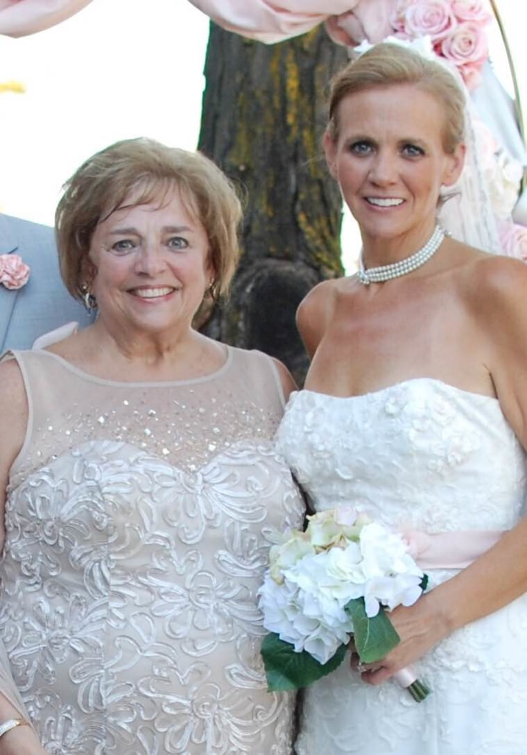 Epps with her mom, Fran Brandon, in August 2016, the day Kelly got married and her mom and dad celebrated 50 years of marriage.