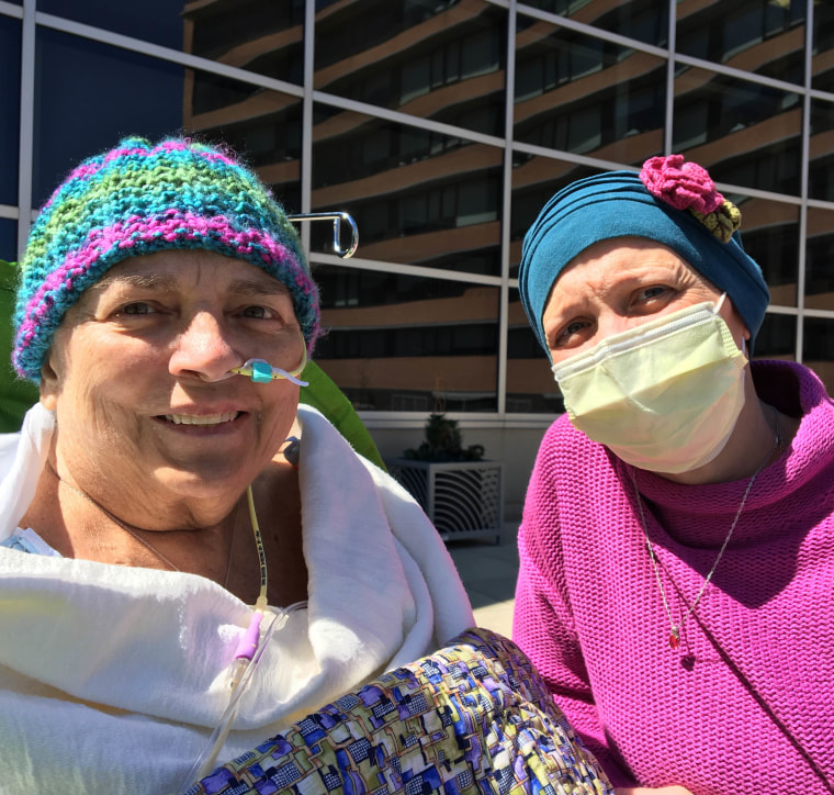 Brandon an her daughter enjoyed the outdoors at the hospital earlier this month, for the first time after her stem cell transplant.