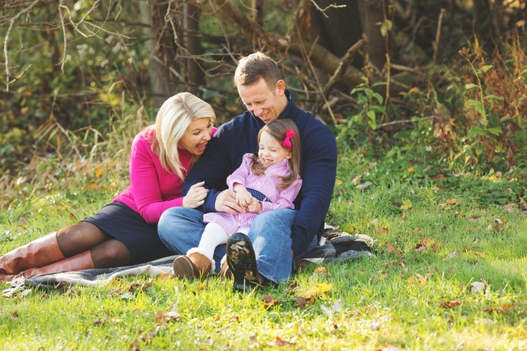 Stacey Skrysak with husband, Ryan, and daughter, Peyton, 3.