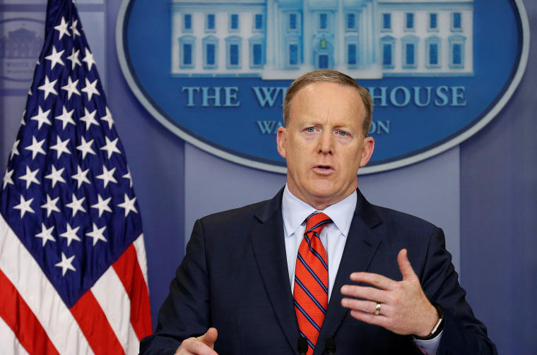 Image: White House Press Secretary Sean Spicer speaks during a press briefing at the White House in Washington