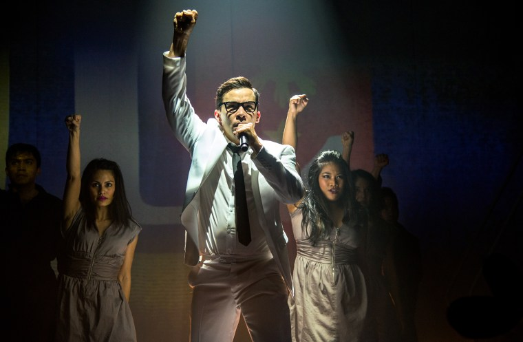"Conrad Ricamora plays Ninoy Aquino in Seattle Repertory Theatre's production of ""Here Lies Love."""