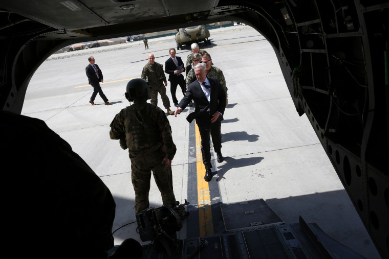 Image: US Defence Secretary James Mattis boards a helicopter to fly from Hamid Karzai International Airport to Resolute Support headquarters in Kabul