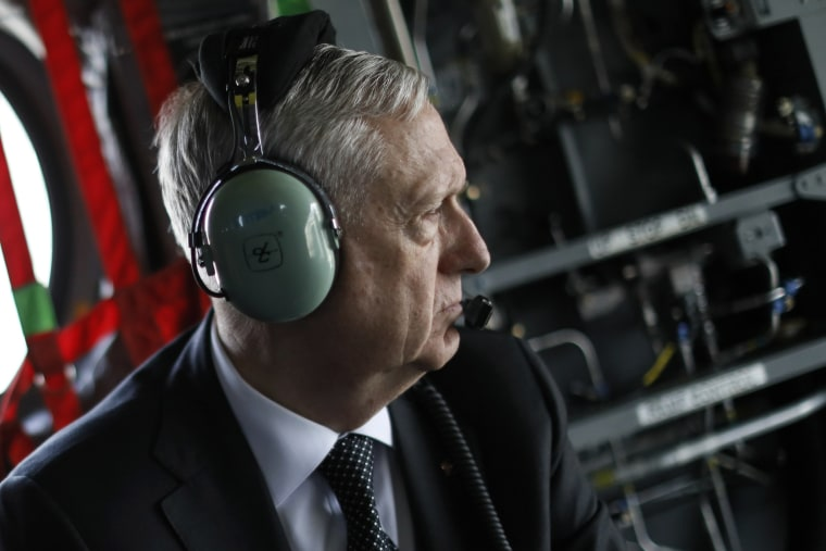 Image: US Defence Secretary James Mattis arrives by helicopter at Resolute Support headquarters in Kabul