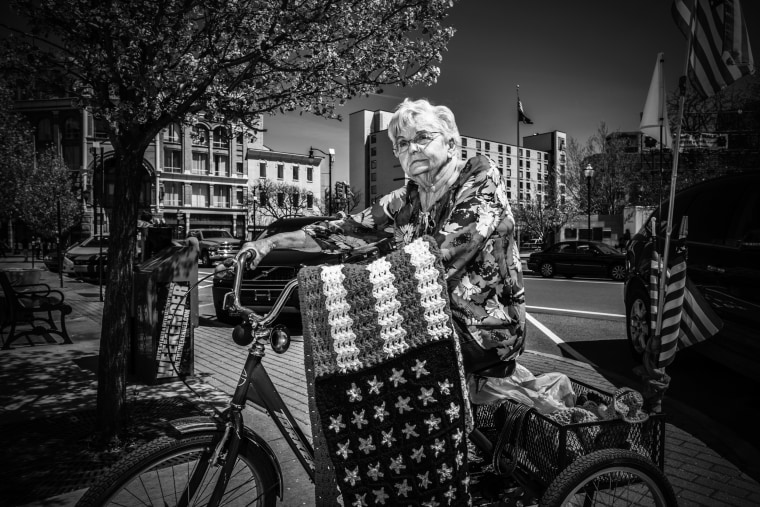 Image: Mary Dippoligo, 78, lives in Wilkes-Barre, is the daughter of a coal miner and makes flag blankets for vets.