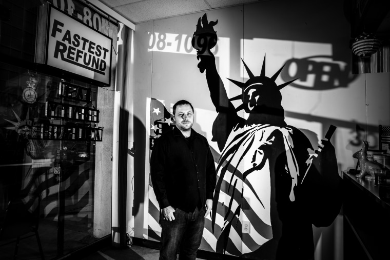 Image: Chris Race, who works at the Liberty Tax Service in Wilkes-Barre.