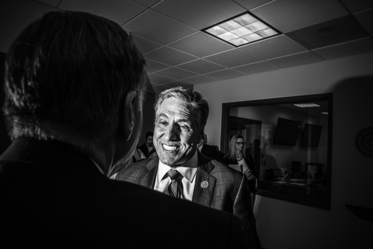 Image: Congressman Lou Barletta (R-PA 11th District) interacts at a press conference for a new water plant.