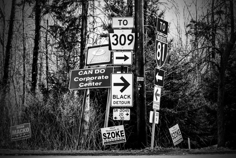 Image: Signs along the road toward Hazel Township, in Luzerne County.