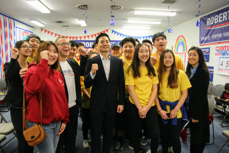 Robert Lee Ahn, a candidate for California's 34th Congressional District, with his supporters