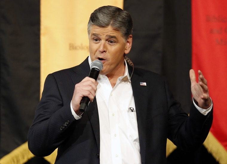 Image: Sean Hannity speaks during a campaign rally for Republican presidential candidate Ted Cruz