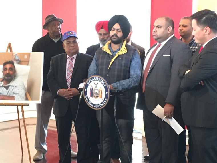 New York City Sikh taxi driver Harkirat Singh, 24, addresses reporters at a news conference in Queens Monday. On April 16, a passenger allegedly removed Singh's turban and fled in a case that is being investigated as a hate crime.