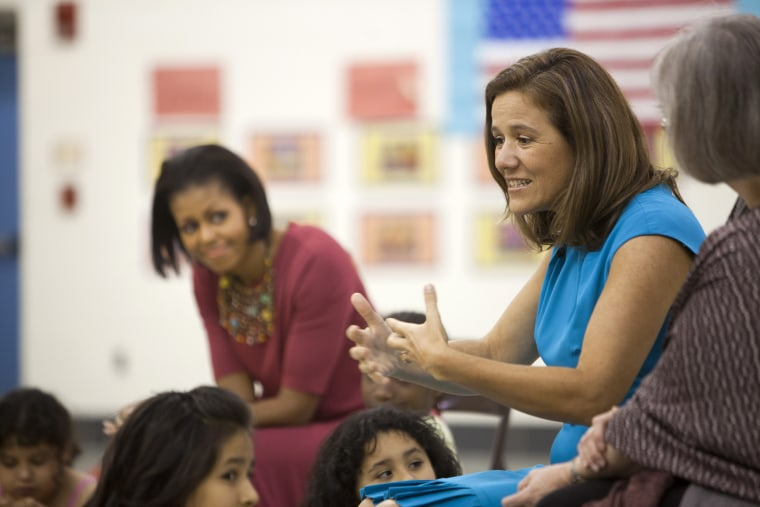 Image: Mexican presidential candidate, Margarita Zavala, speaks as Michelle Obama looks on