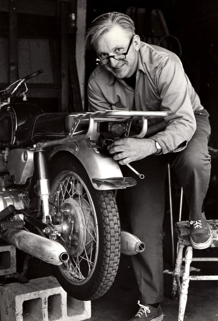 Image:  Robert M. Pirsig works on a motorcycle in 1975