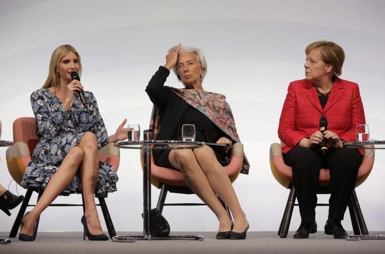 Image: Ivanka Trump, Christine Lagarde and Angela Merkel
